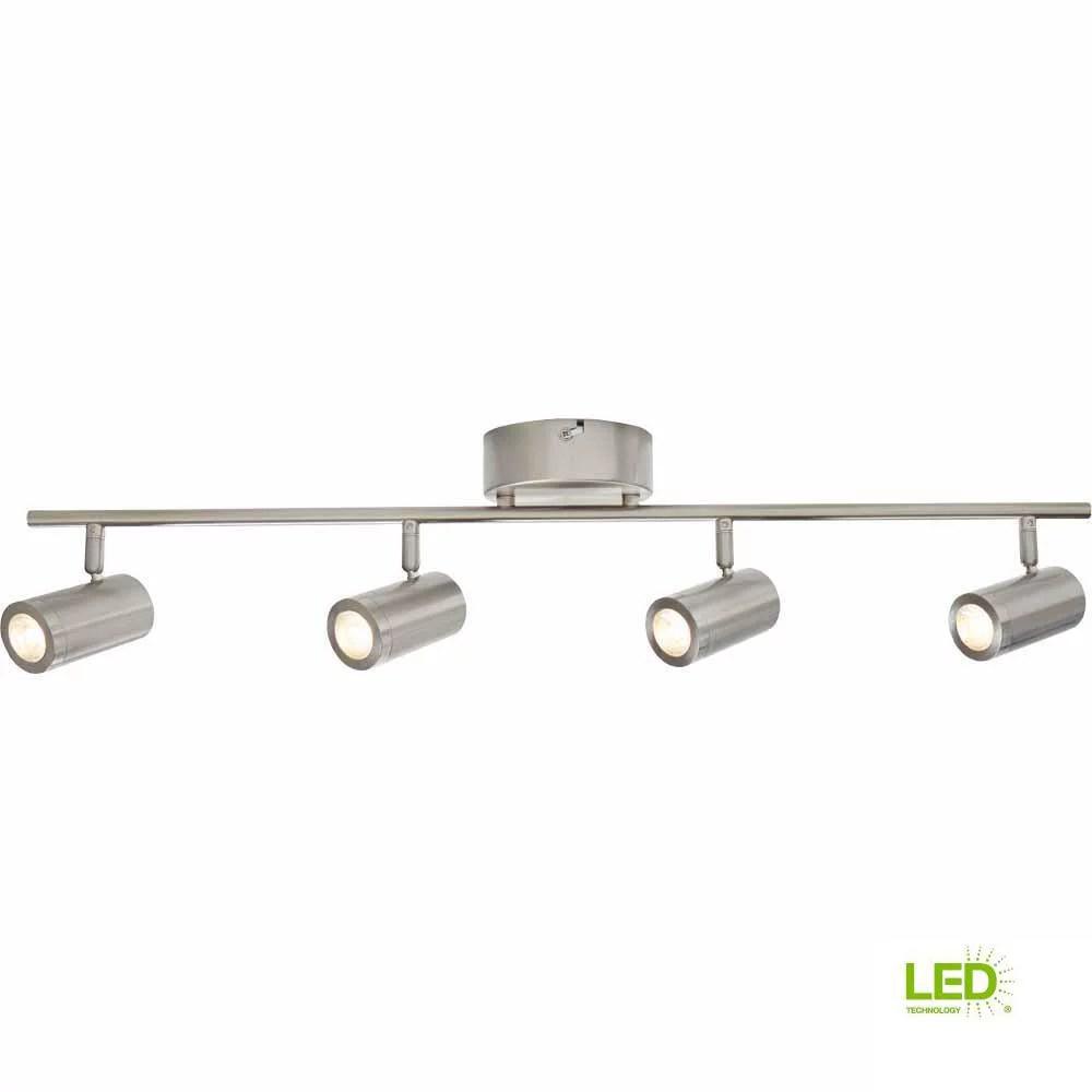 hampton bay 2 47 ft 4 light brushed nickel integrated led track lighting kit