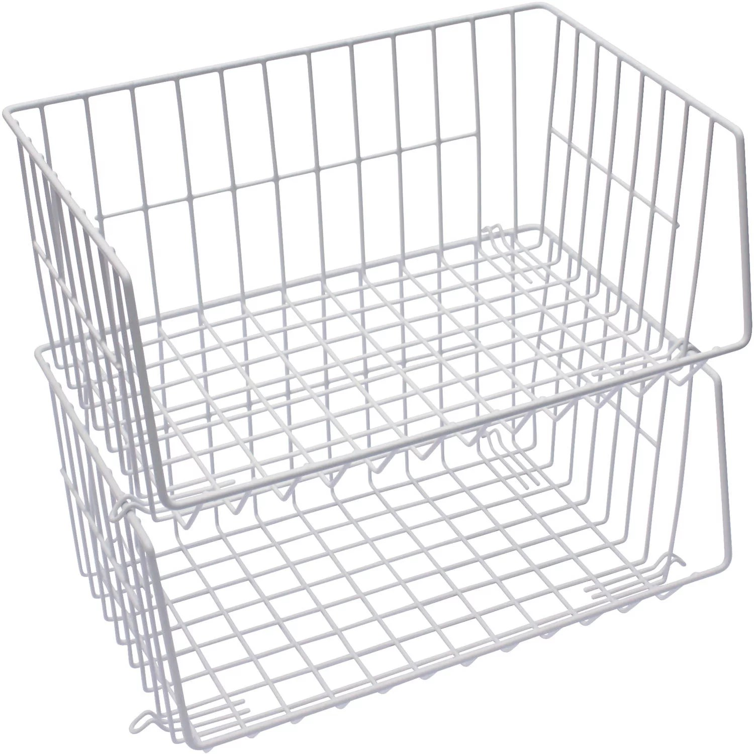 Mainstays White Stacking Baskets 2 Count