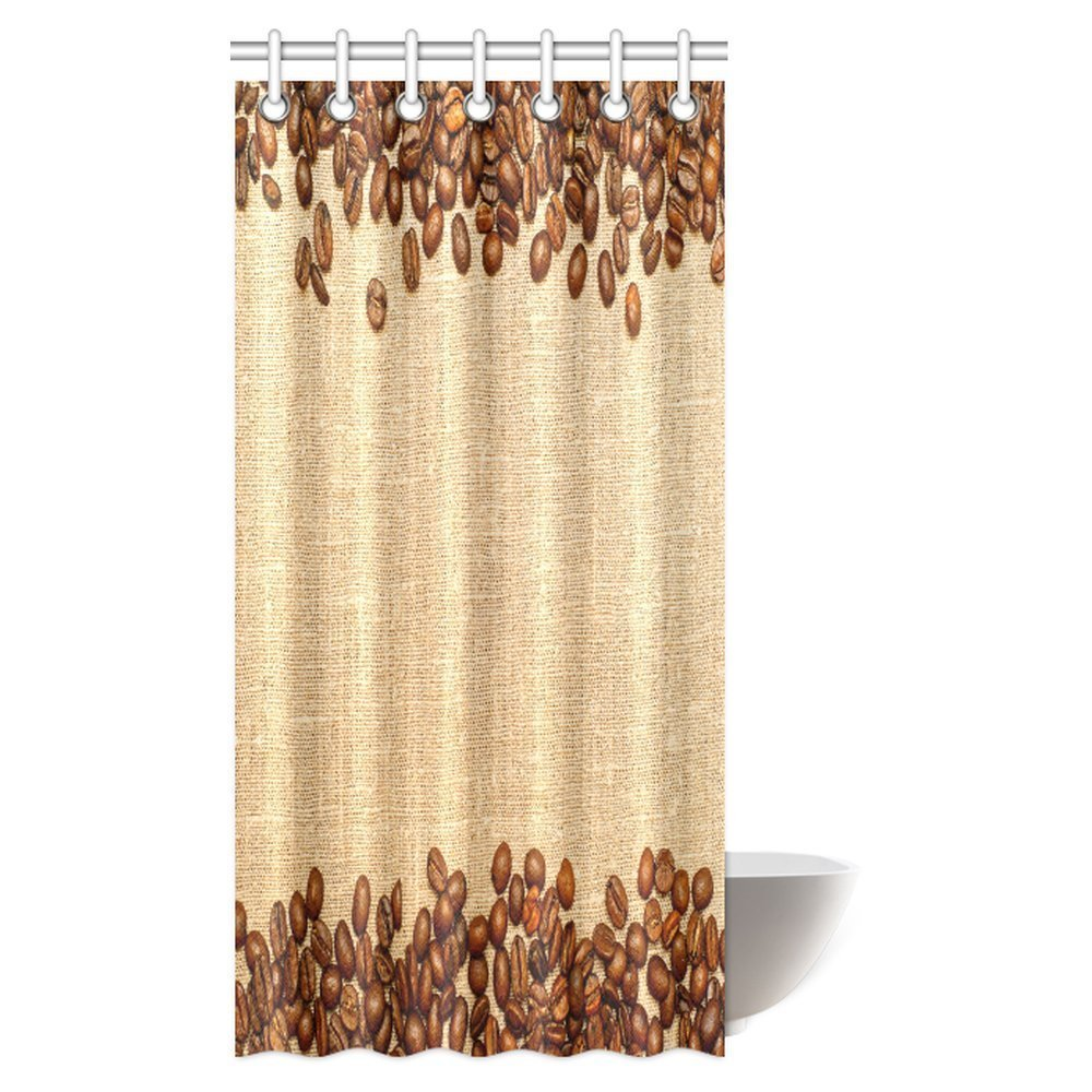 mypop farm house shower curtain decor coffee beans on the burlap and cafe designer decoration collection straw fabric bathroom set with hooks 36 x