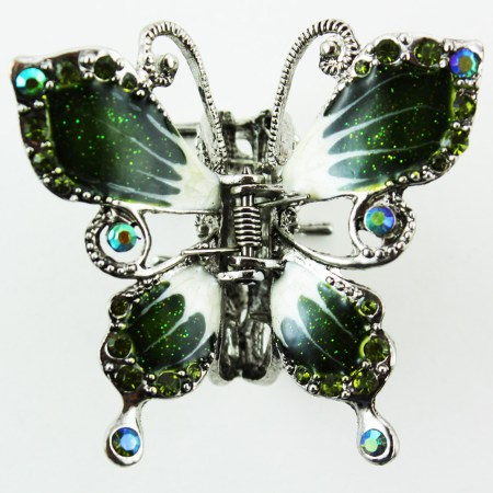 butterfly hair clip silver tone butterfly hair accessory green white walmart