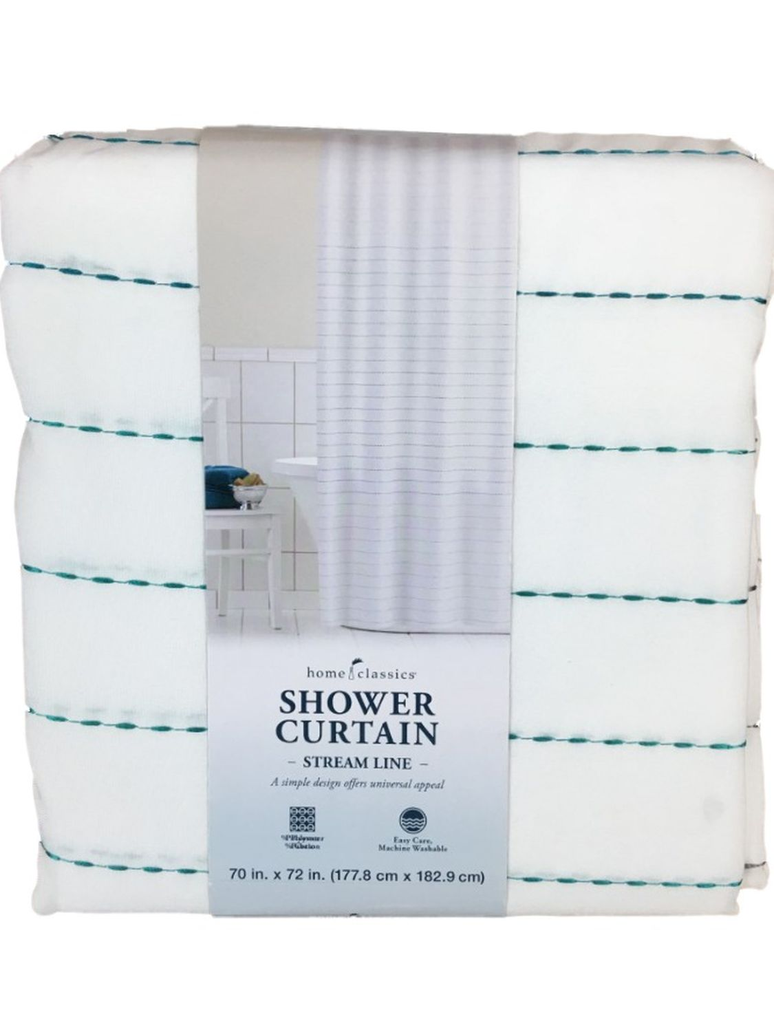 home classics teal blue embroidered fabric shower curtain stitched lines bath