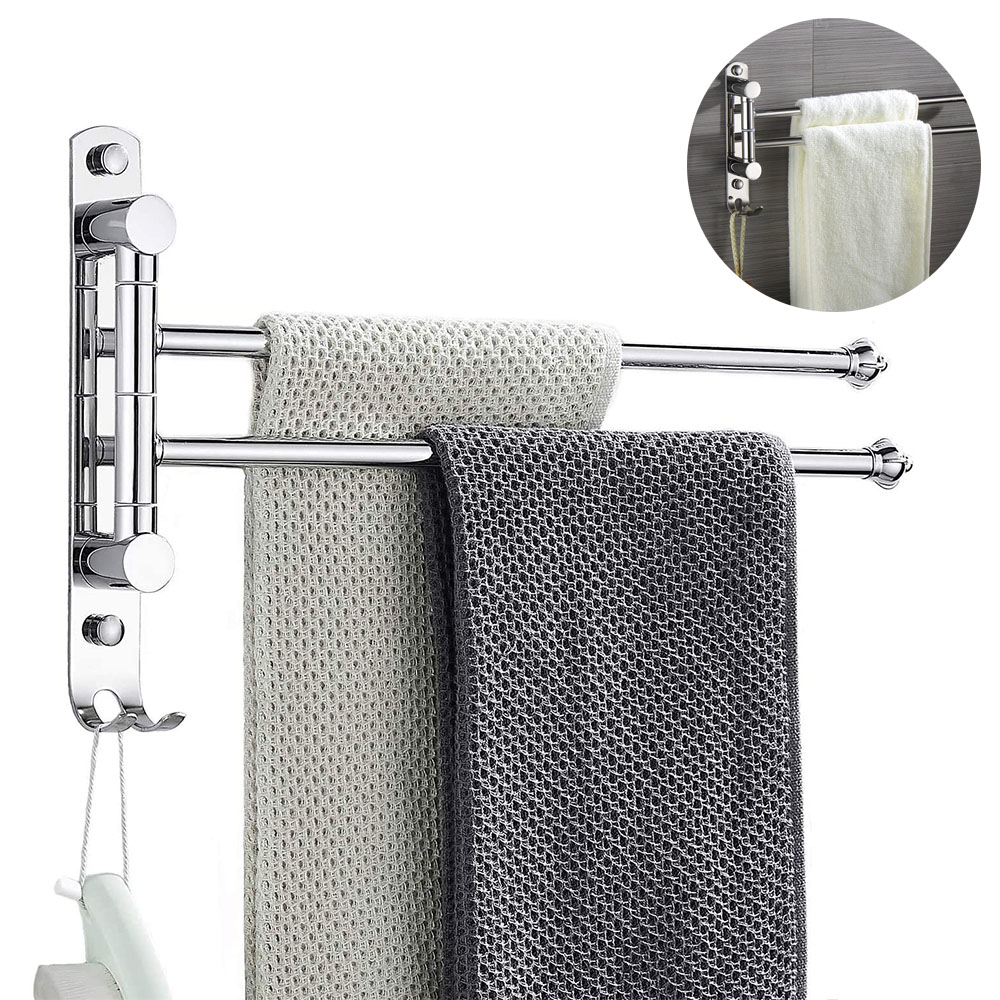 swivel towel rack 2 swing arm bathroom towel bar wall mounted stainelss steel rustproof hanging holder brushed gold finish