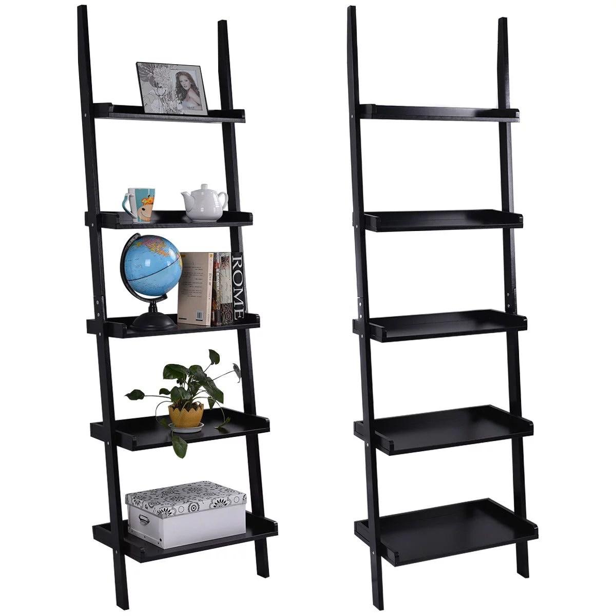 5 Tier Bookshelf Leaning Wall Shelf Ladder Bookcase Storage Display Stand