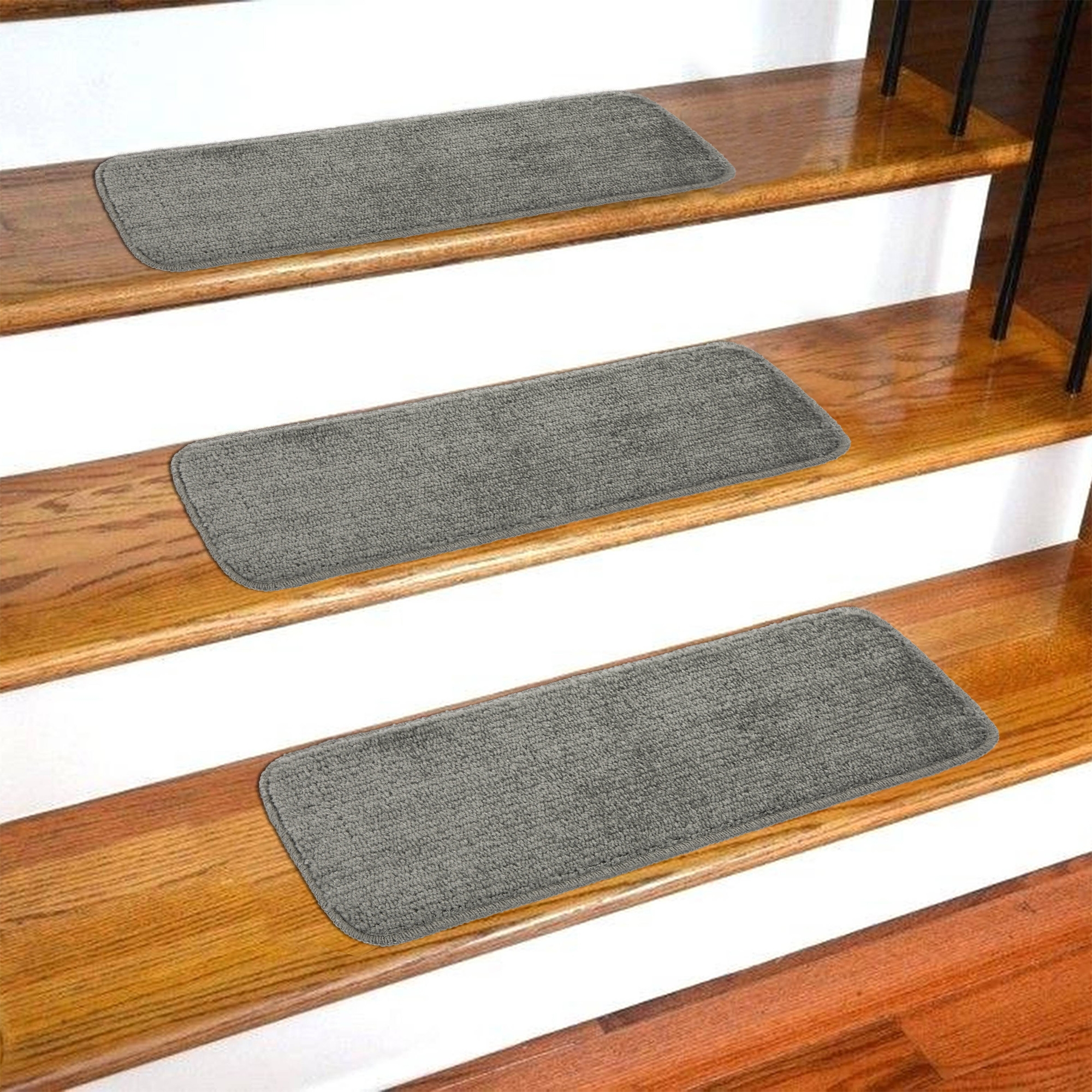 Ottomanson Softy Stair Treads Solid Skid Resistant Rubber Backing   Wrapping Stair Treads With Carpet   Stairway Remodel   True Bullnose   Non Slip   Wood Stairs   Oak Valley