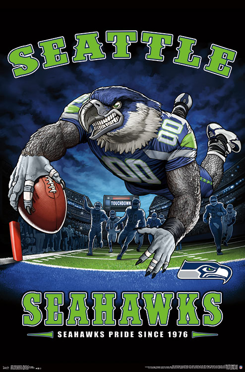 seattle seahawks end zone poster mount bundle
