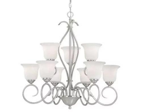 patriot lighting samantha 9 light satin nickel chandelier