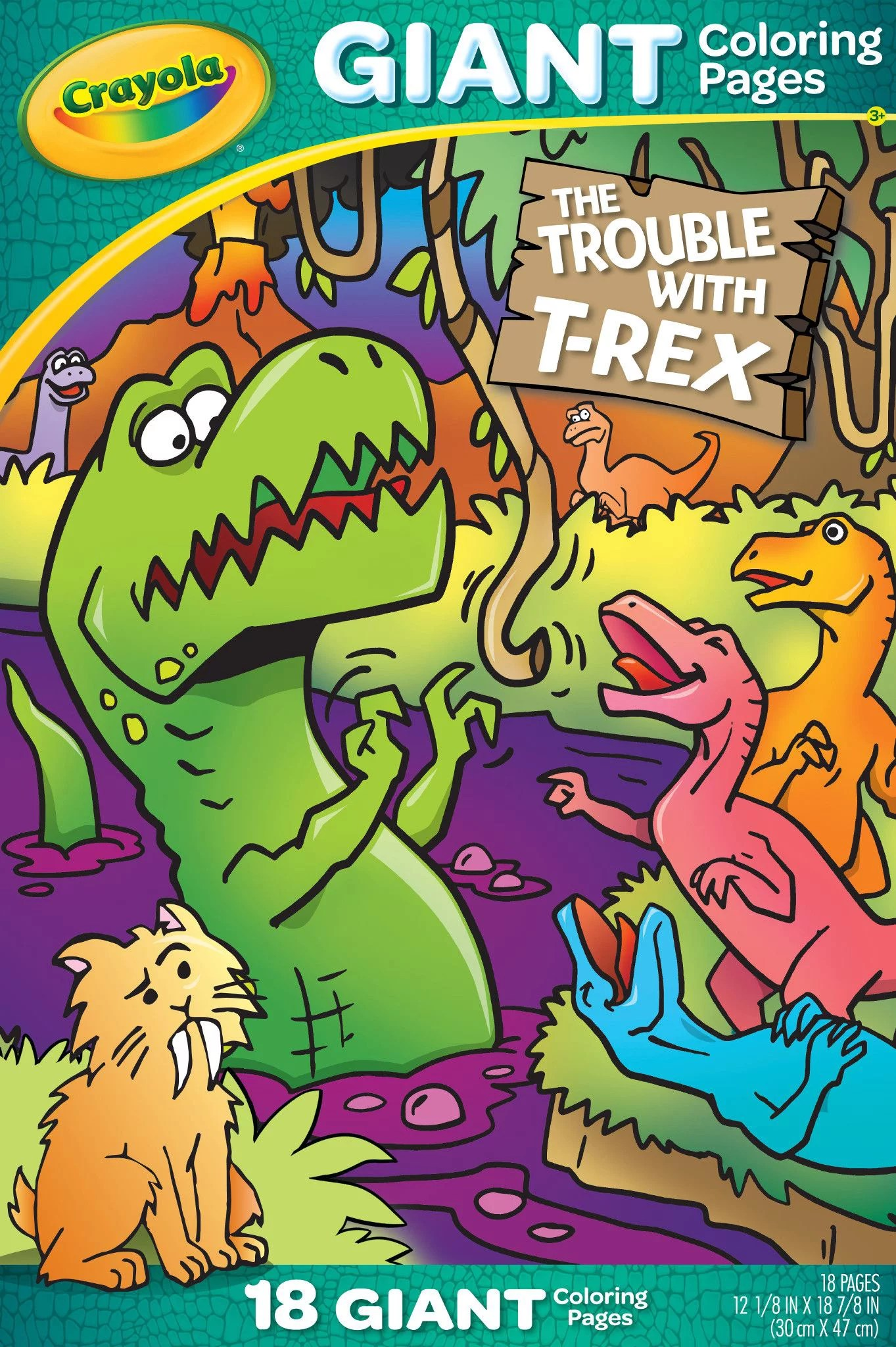 Crayola Giant Coloring Trouble With T Rex Beginner Child 18 Pages Walmart Com Walmart Com