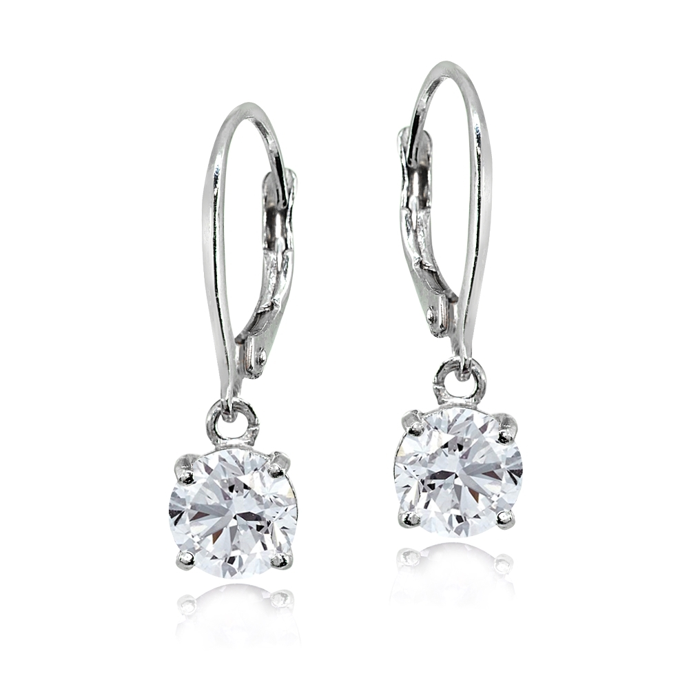 Created White Sapphire Sterling Silver 6mm Round Solitaire Dangle Leverback Earrings