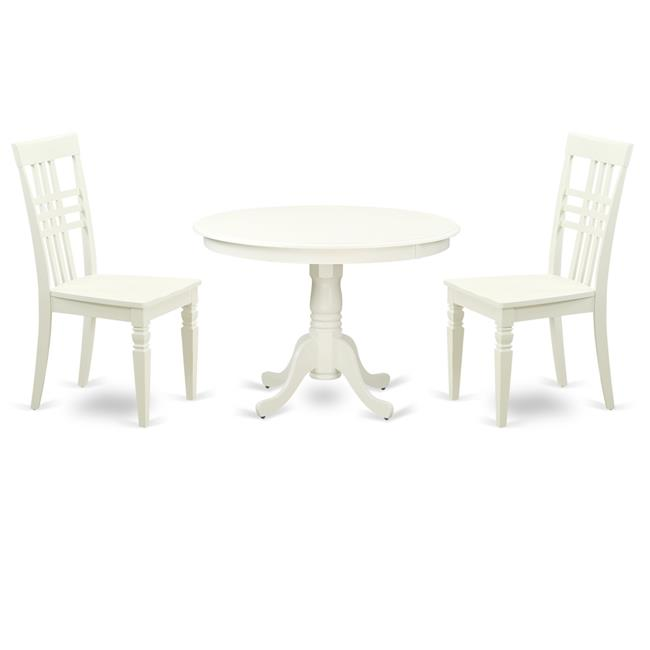 dining set one round small table two chairs with wood seat linen white 42 in 3 piece