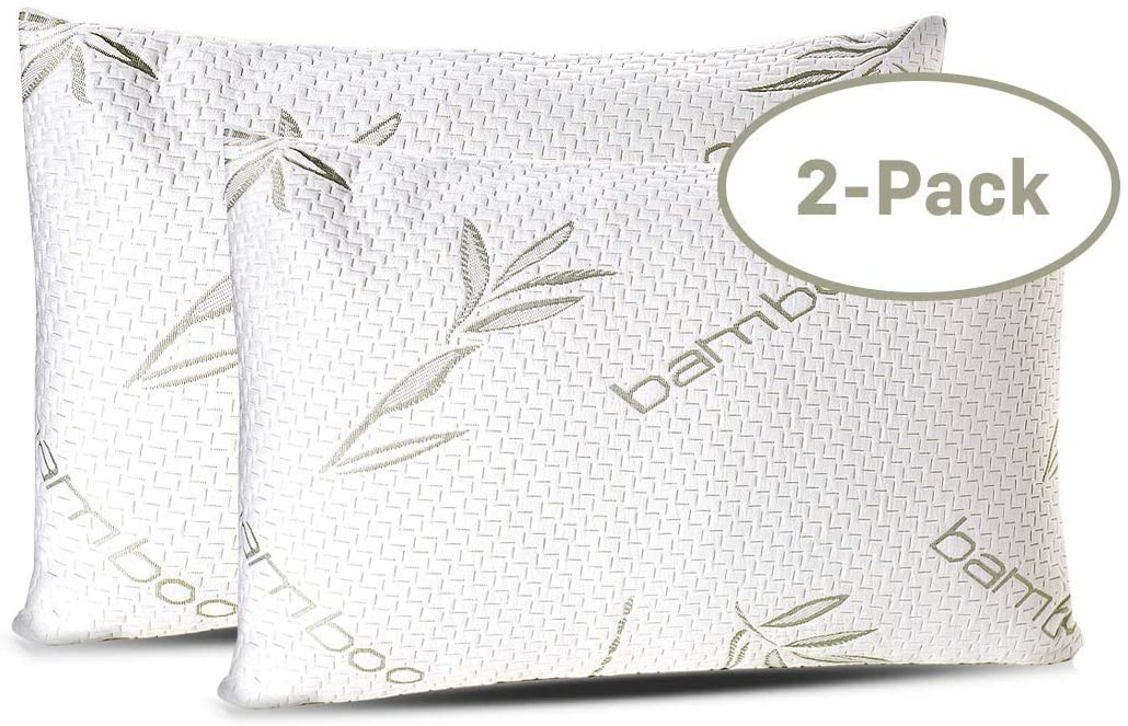 sleepsia bamboo shredded memory foam pillow for sleeping with washable pillow case 2 pack queen