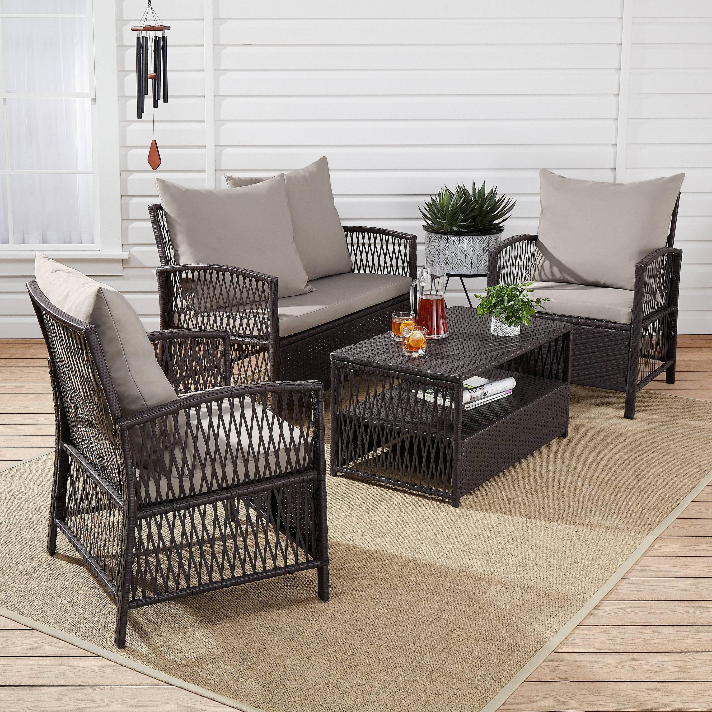 mainstays sanza rattan 4 piece wicker patio furniture conversation set beige