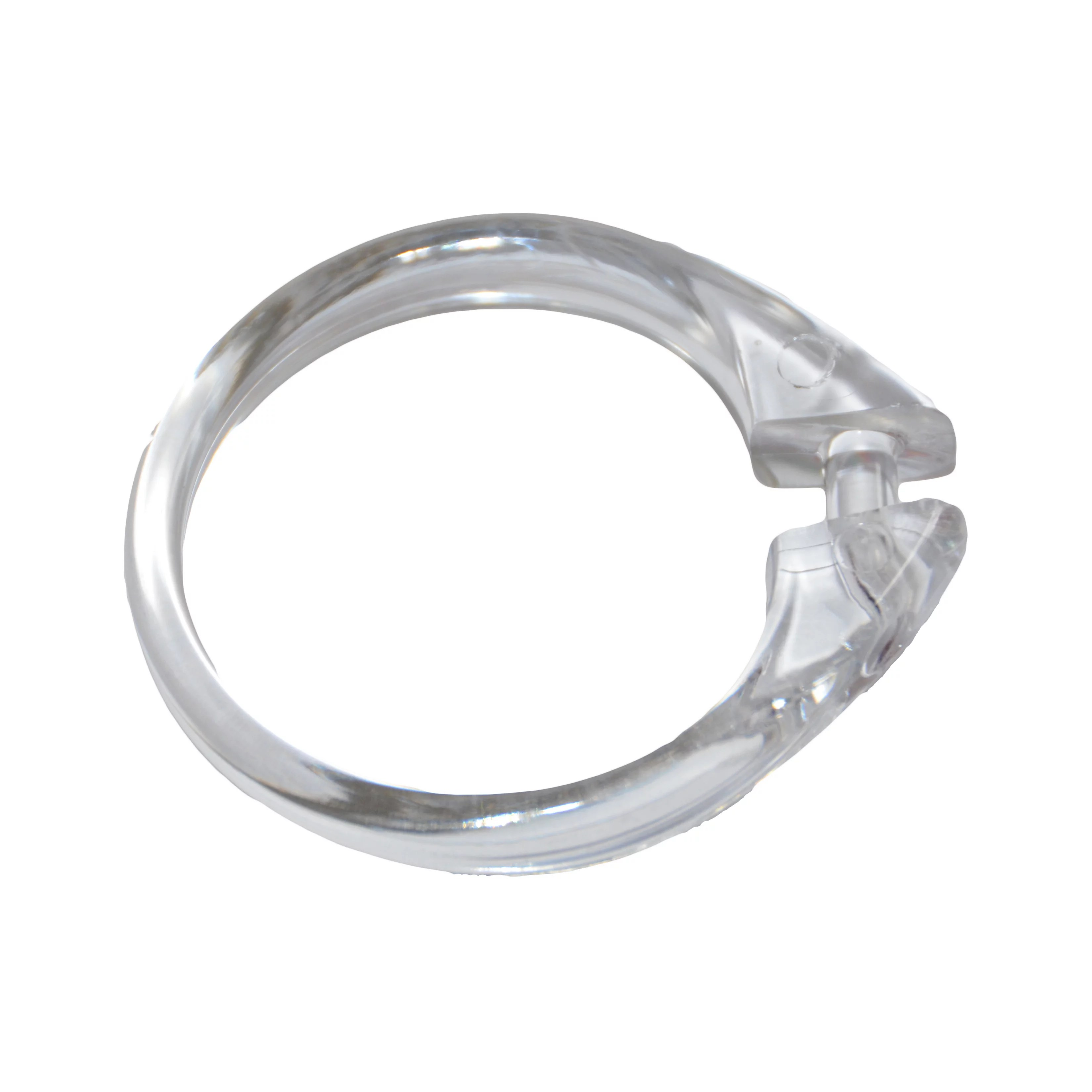 clear set of 12 easy to use plastic snap on shower curtain rings size 2 diameter
