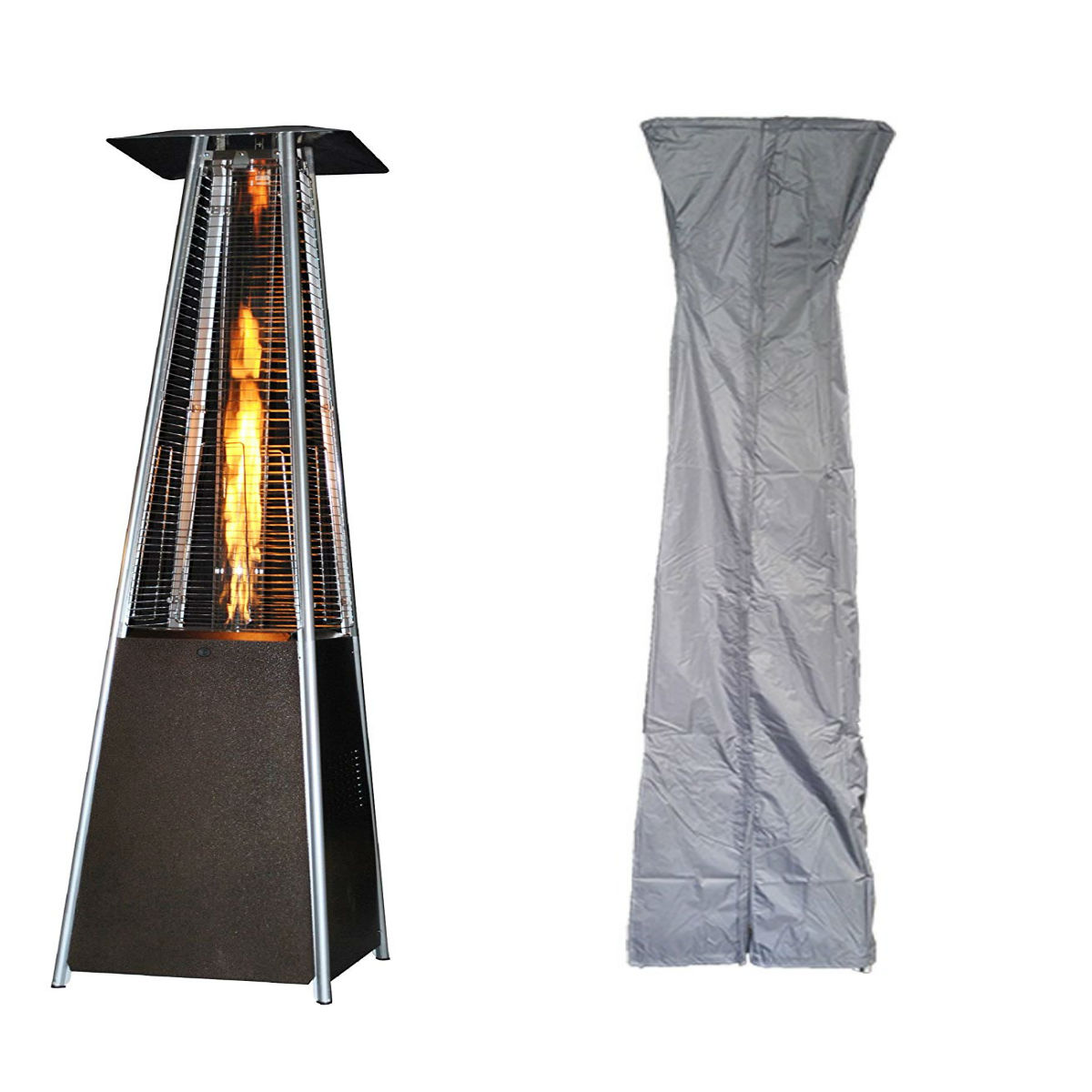 sunheat international contemporary square design portable propane patio heater golden hammered with square patio heater cover