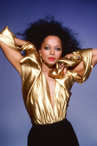 diana ross 24x36 poster stunning pose in low cut gold shimmering top