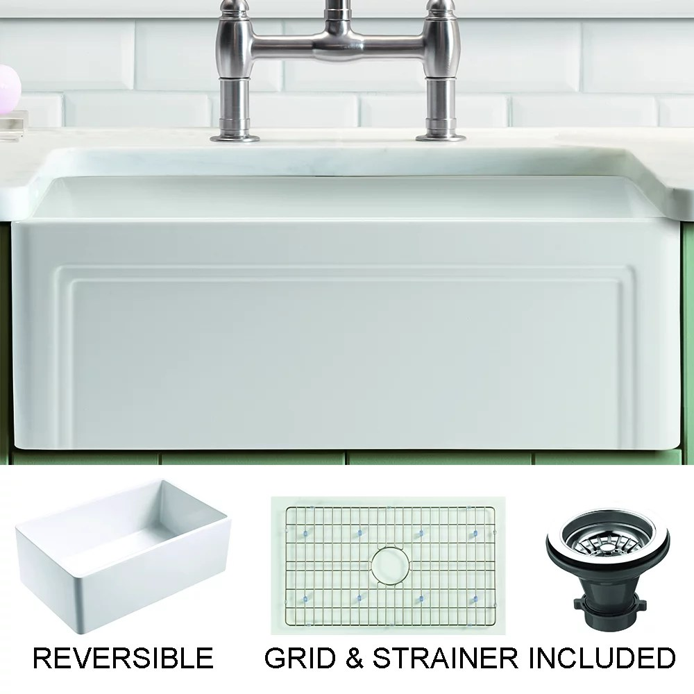 olde london farmhouse fireclay 27 kitchen sink with grid and strainer in white walmart com