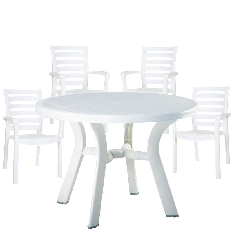 5 piece 42 round resin patio table and 4 resin chairs in white walmart com