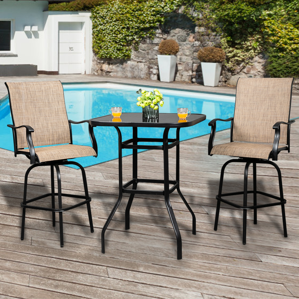 patio swivel bistro set 3 piece outdoor bar table and stools set 2 patio swivel bar chairs with 1 high glass top table all weather metal frame