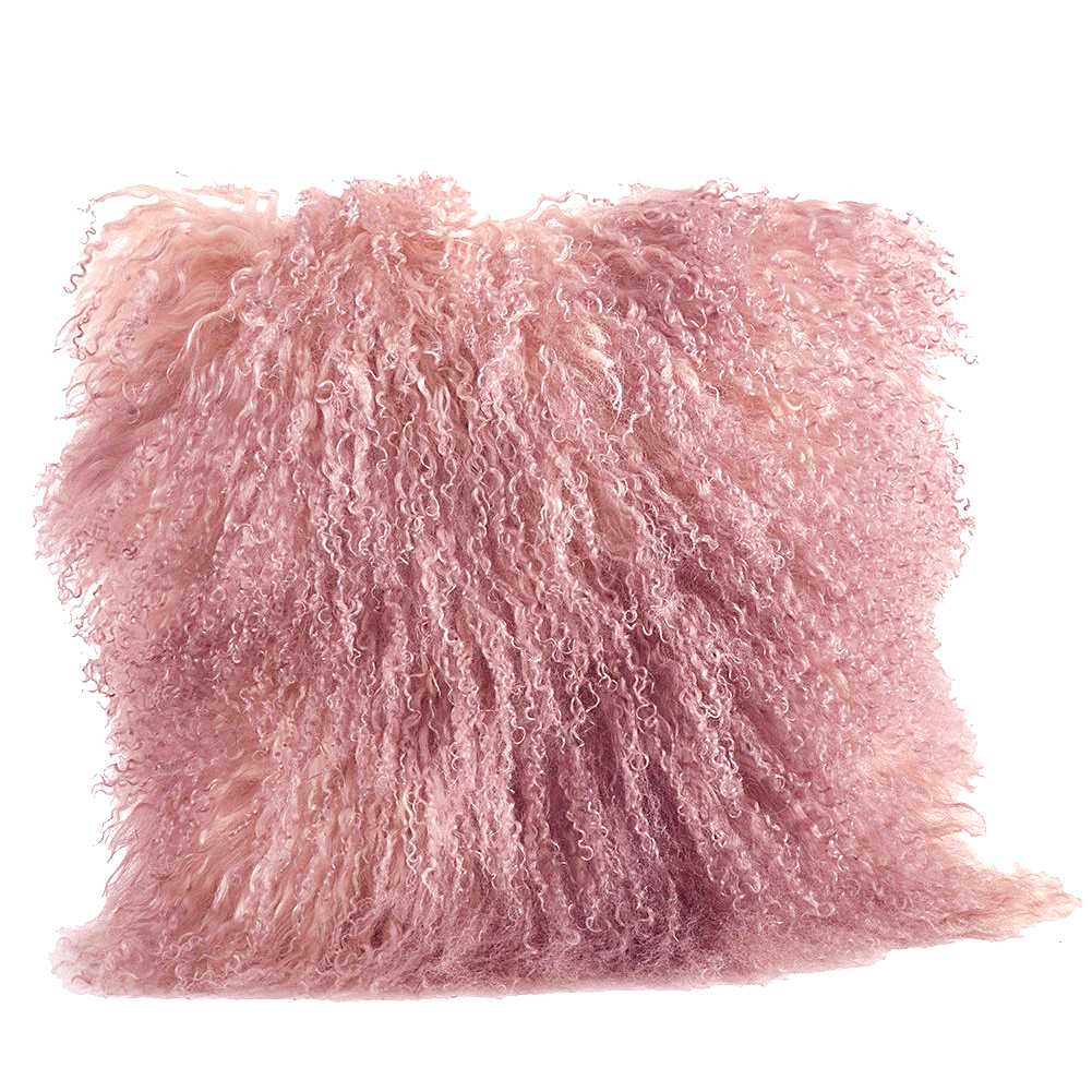 rose pink color real mongolian lamb fur pillow includes pillow filling 16 inch square