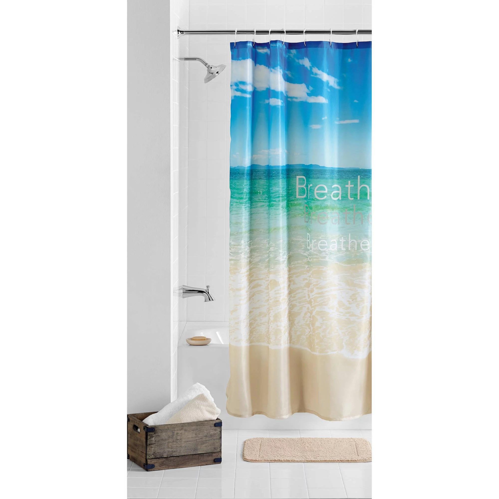 mainstays photoreal breathe beach polyester taffeta printed scenic fabric shower curtain multi 70 x 72 walmart com