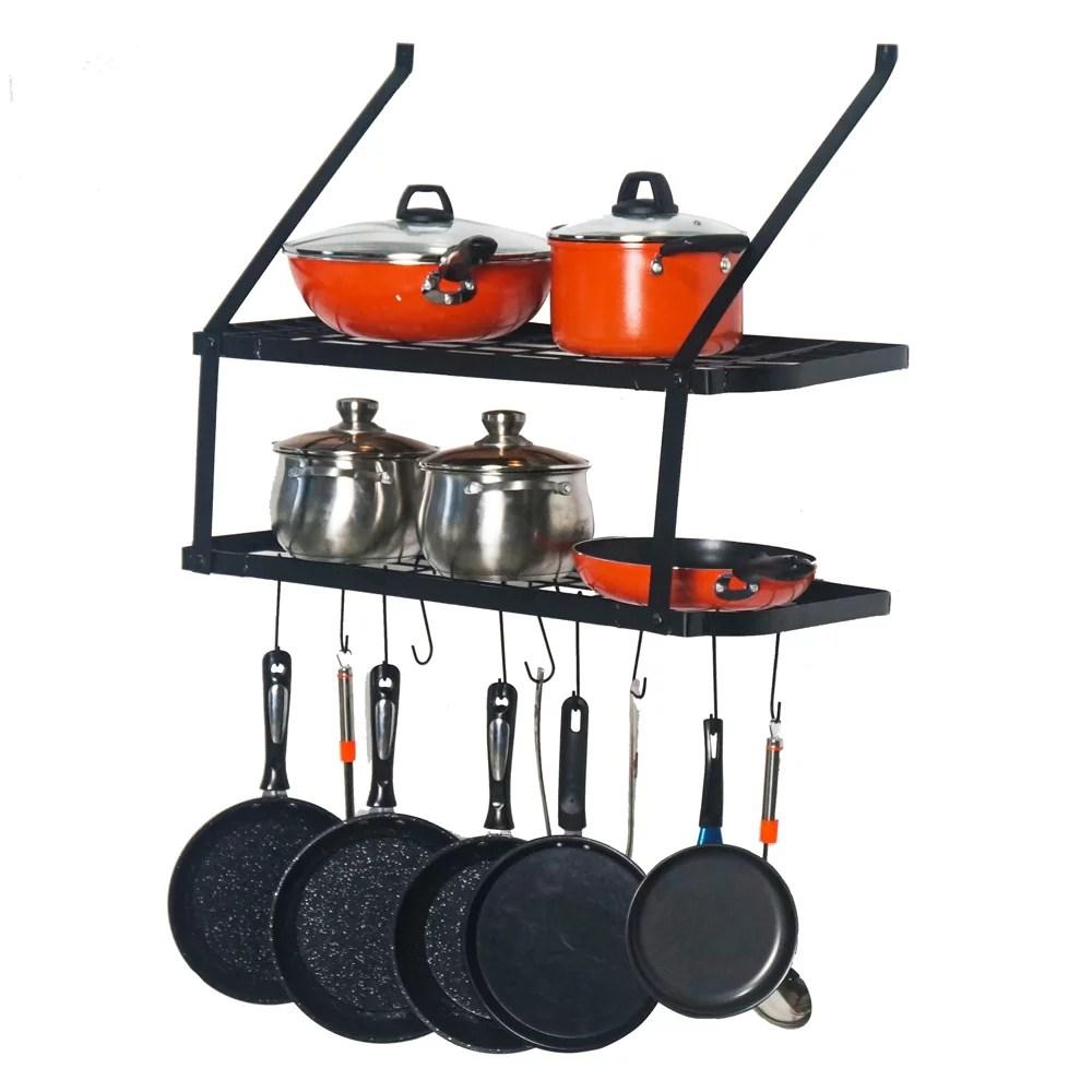 wall mounted pot rack storage shelf with 2 tier 10 hooks included kitchen pot racks hanging storage organizer