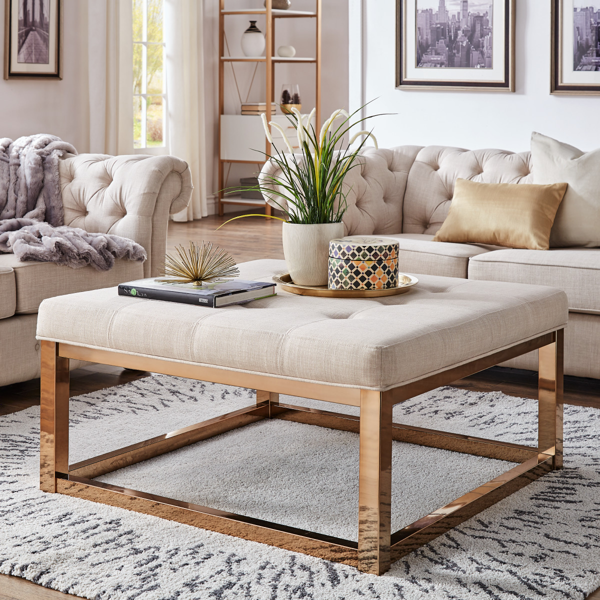 weston home libby dimpled tufted cushion ottoman coffee table with champagne gold straight base beige linen