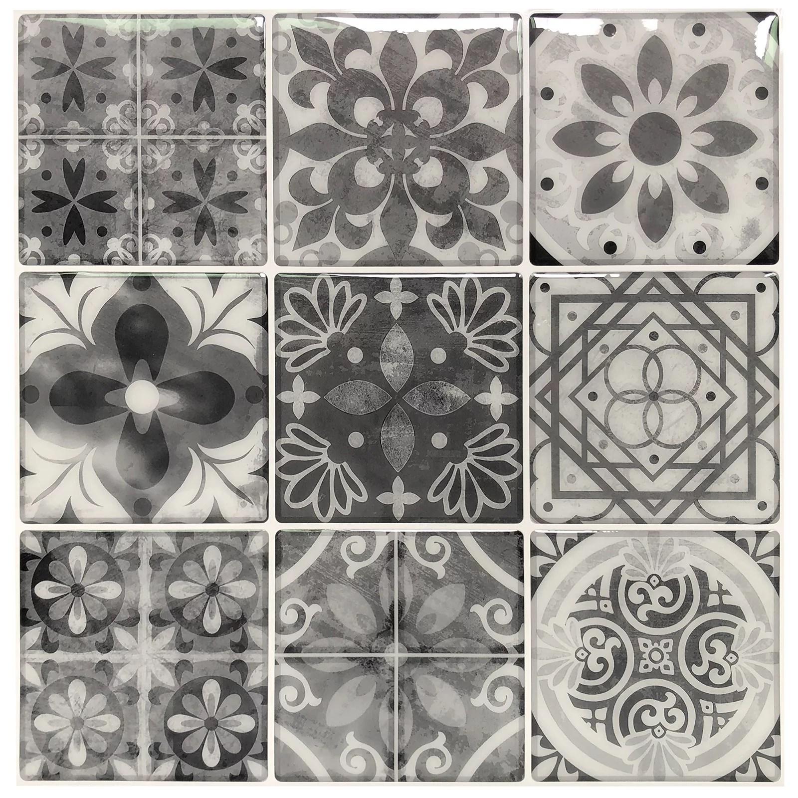 longking peel and stick wall tile backsplash tile gray talavera 12 in x 12 in 10 pack walmart com