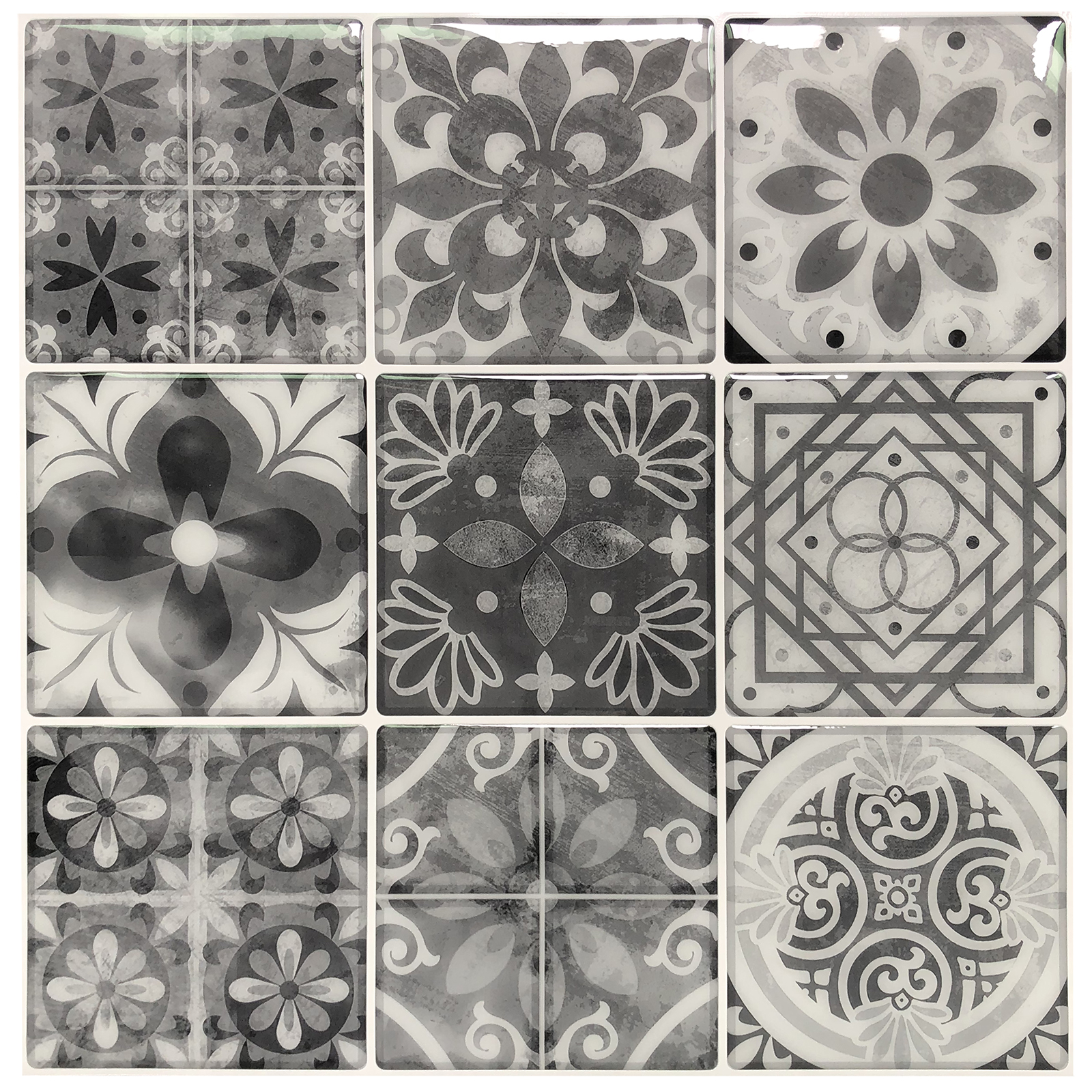 longking peel and stick wall tile backsplash tile gray talavera 12 in x 12 in 10 pack