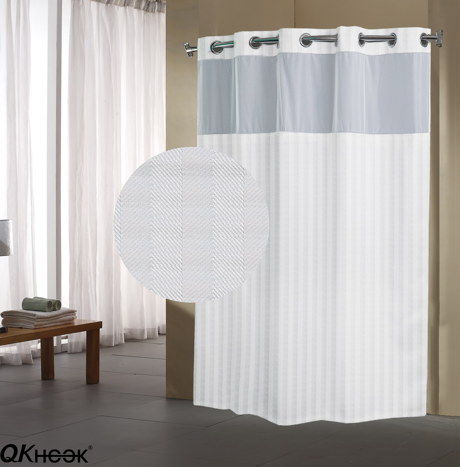 qkhook hookless shower curtain with snap in liner 1 pack 71x74 inches herringbone pattern fabric water repellent walmart com