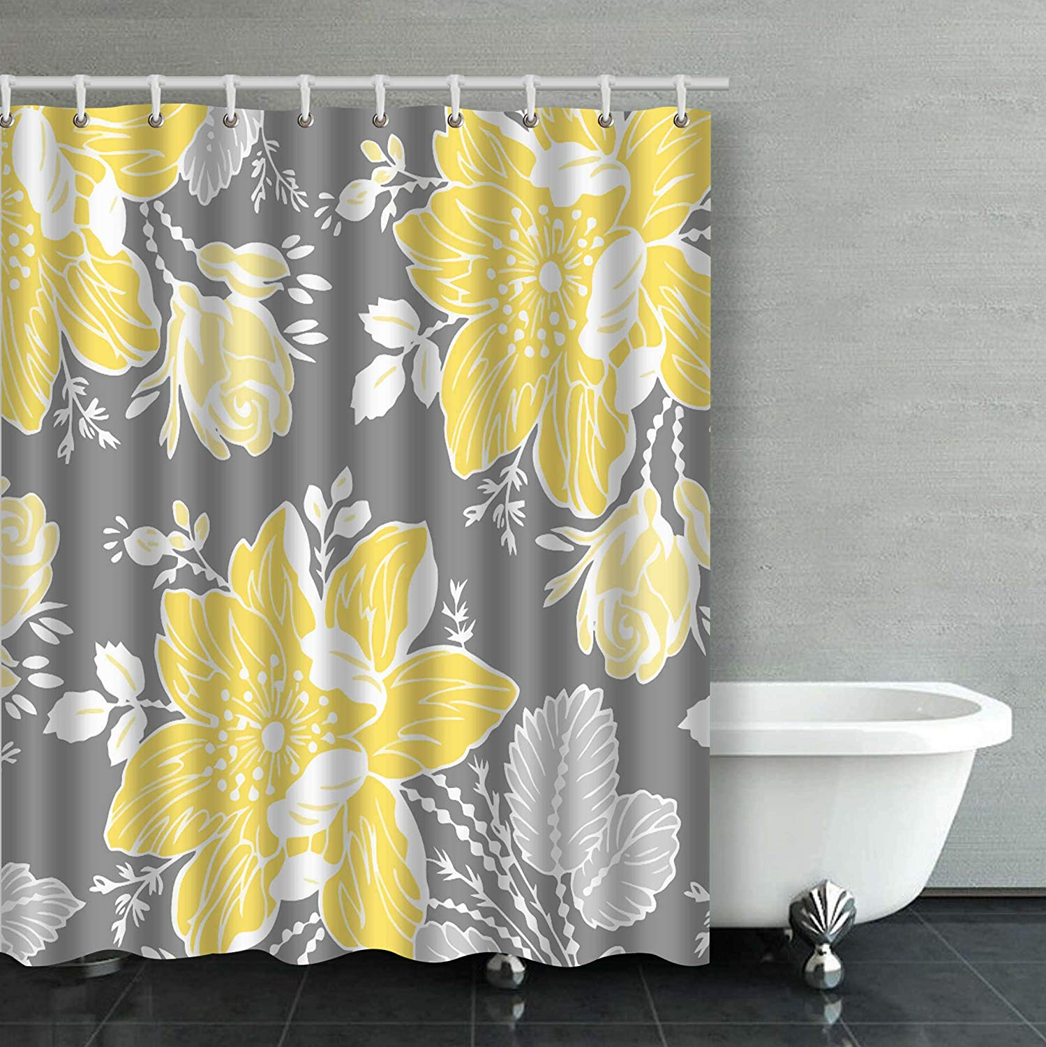 rylablue yellow gray white floral bathroom shower curtain 66x72 inches