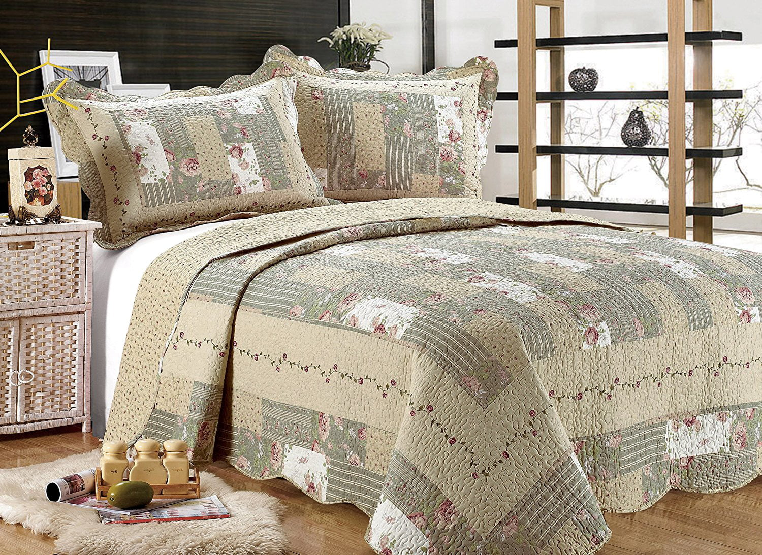 all for you 3pc reversible quilt set bedspread or coverlet with patchwork prints oversized king california king 110 x120