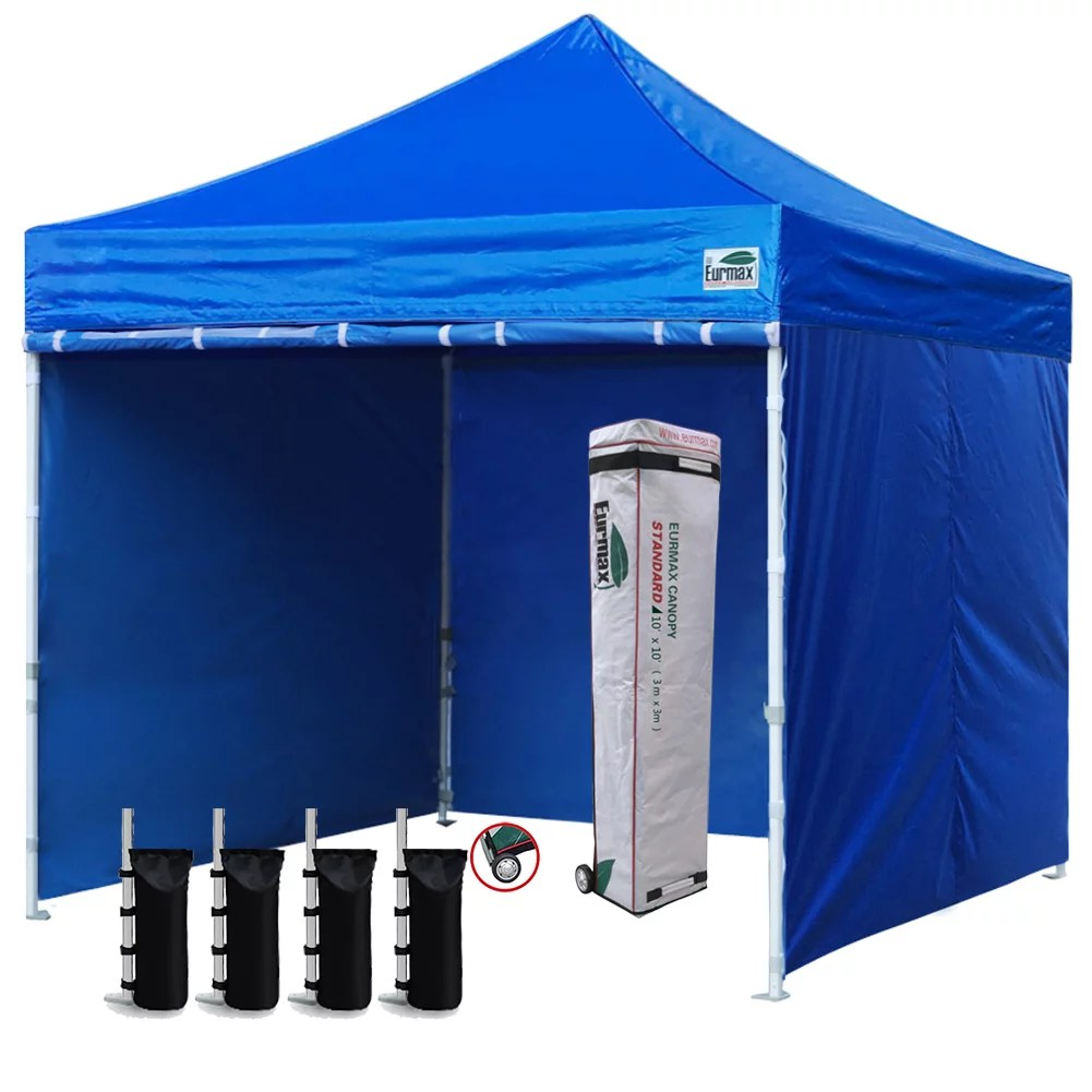 eurmax 10x10 ez pop up canopy outdoor canopy instant tent with 4 zipper sidewalls and roller bag bouns 4 weight bags blue
