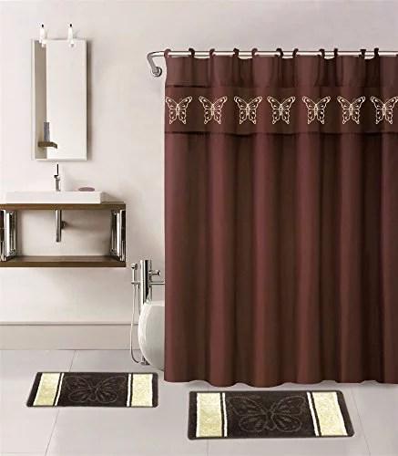 15 piece hotel bathroom sets 2 non slip bath mats rugs fabric shower curtain 12 hooks butterfly brown