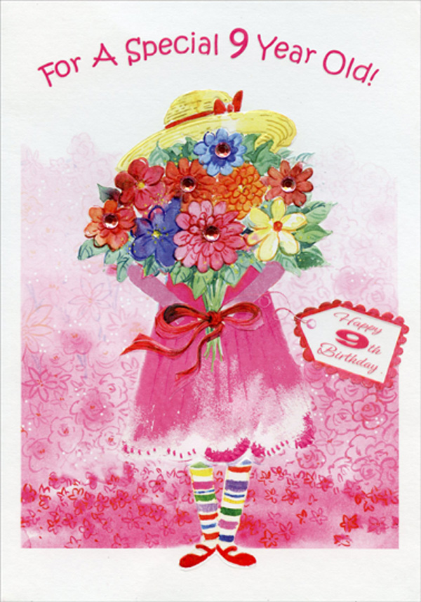 Designer Greetings Girl Holding Flowers Hand Decorated Pink Gems Age 9 9th Birthday Card For Girl Walmart Com Walmart Com