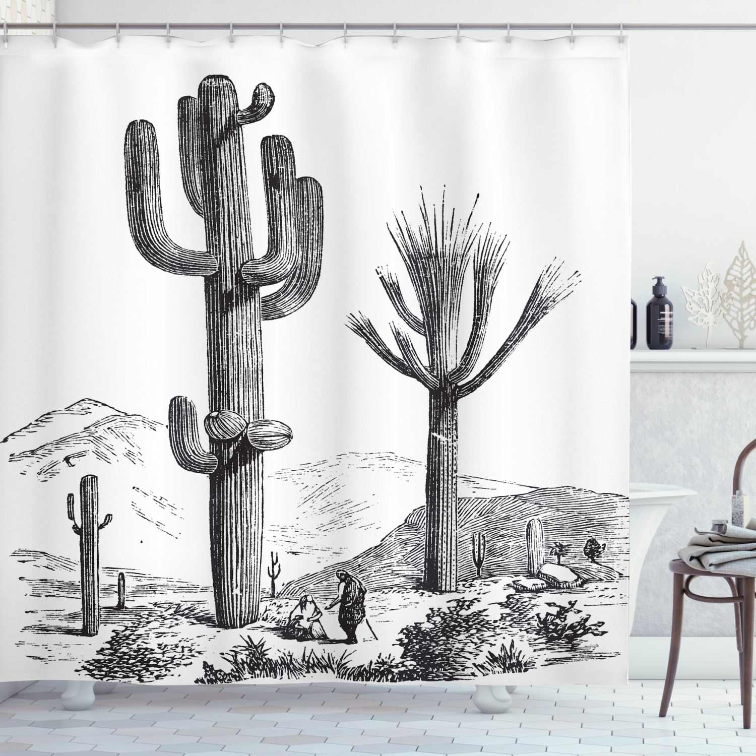 cactus shower curtain sketchy hand drawn print of desert plants with mexican travellers ethnic image fabric bathroom set with hooks charcoal grey