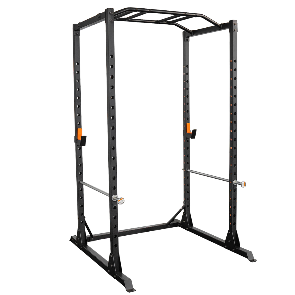 grind fitness alpha 3000 power rack squat rack with barbell holder silver spotter arm 1500 lbs weight limit textured multi grip pull up bar heavy