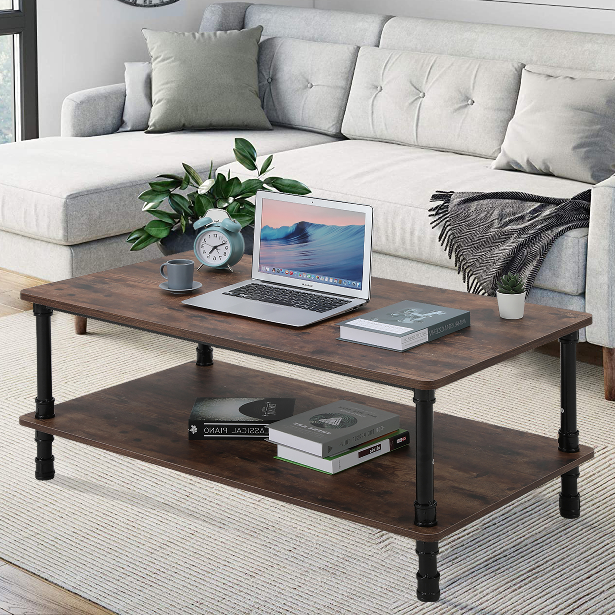 modern industrial coffee table with storage wooden center home office table walmart com