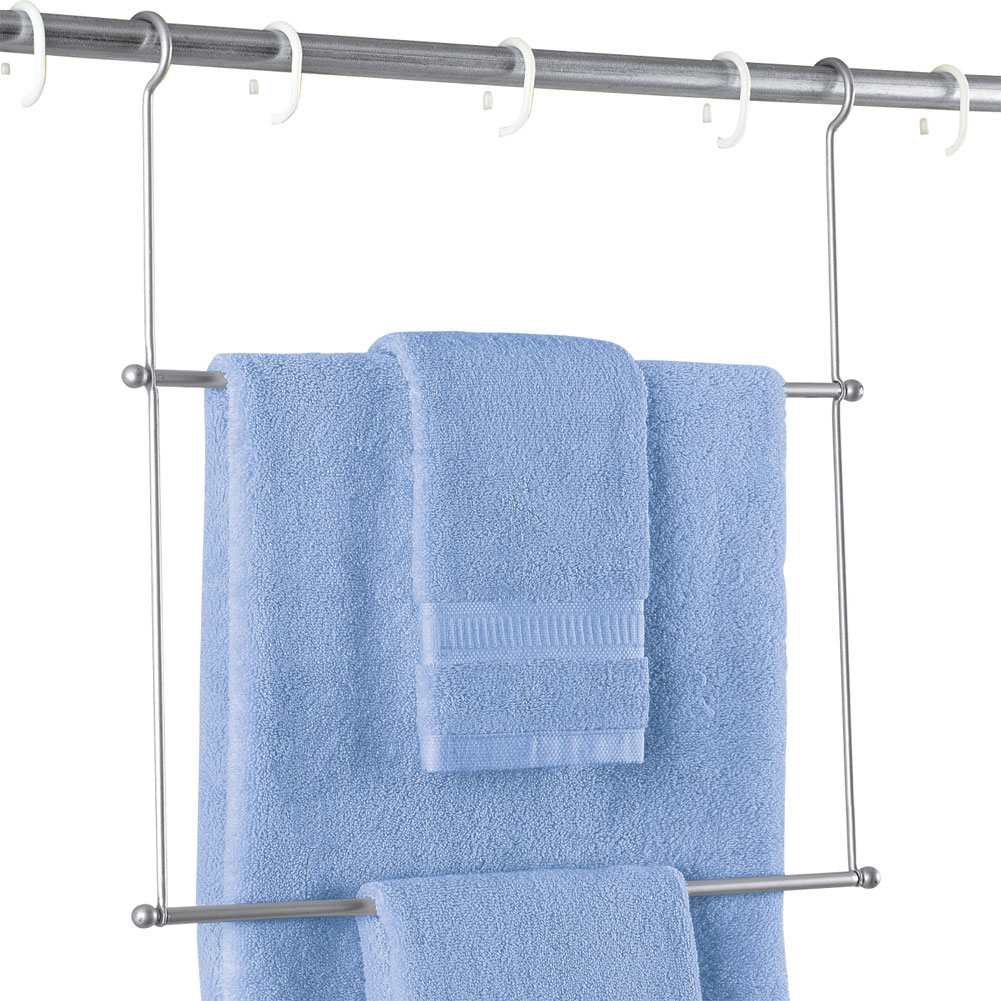 collections etc instant hanging shower rod towel rack