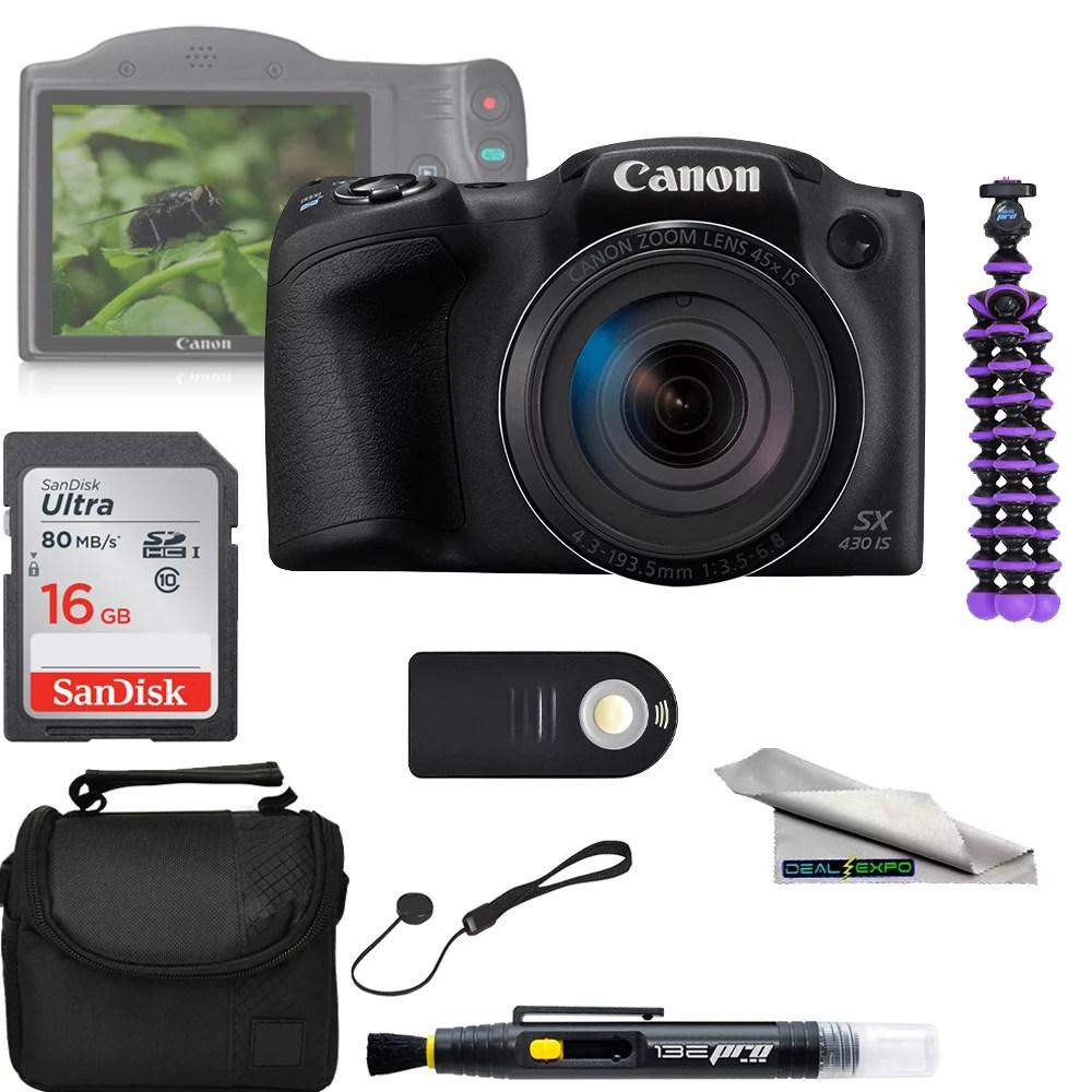 Canon PowerShot SX430 IS 20MP Digital Camera 45x Optical Zoom + 16 GB Memory card + Deal - expo Bundle
