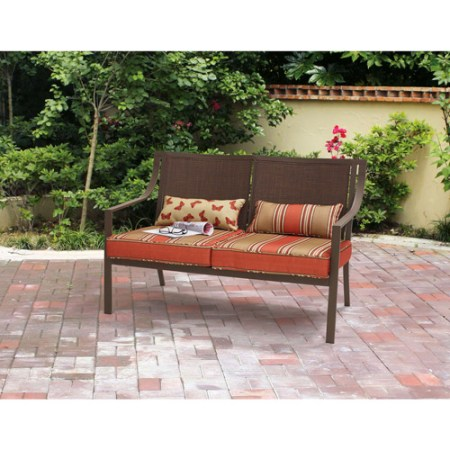 Mainstays Alexandra Square Outdoor Loveseat Garden Bench, Gray