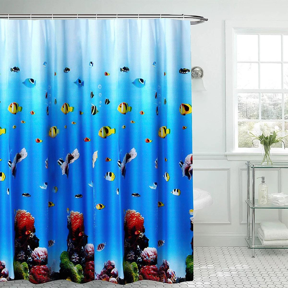 tropical ocean underwater world colorful fish waterproof shower curtain window curtain non slip mats bath carpets toilet seat cover floor mat bathroom