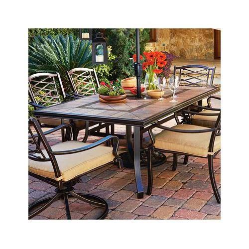 patio master alf48417k01 granada patio collection tile top dining table 40 x 72 in