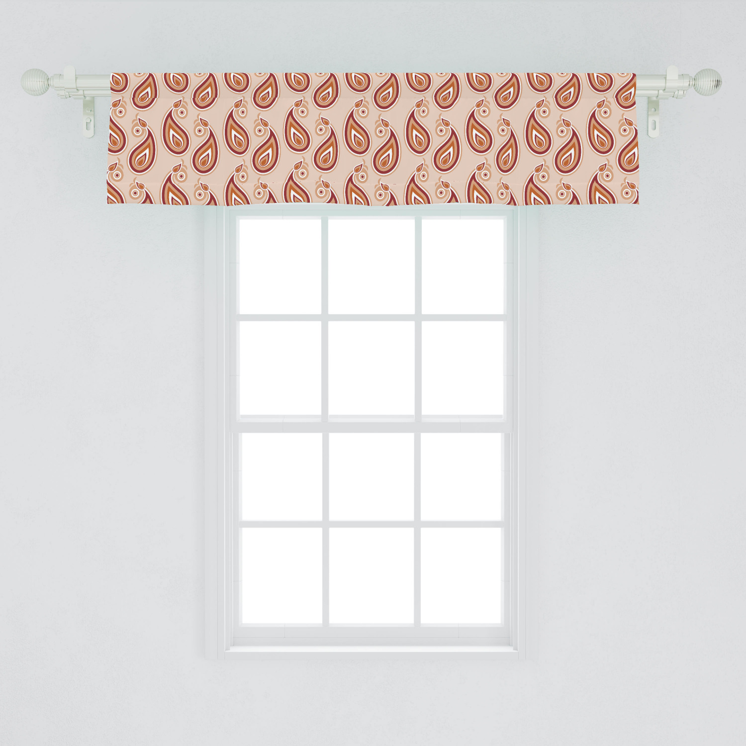 Paisley Window Valance Contemporary Illustration Of Persian Style Paisley And Patterns Print Curtain Valance For Kitchen Bedroom Decor With Rod Pocket By Ambesonne Walmart Com Walmart Com