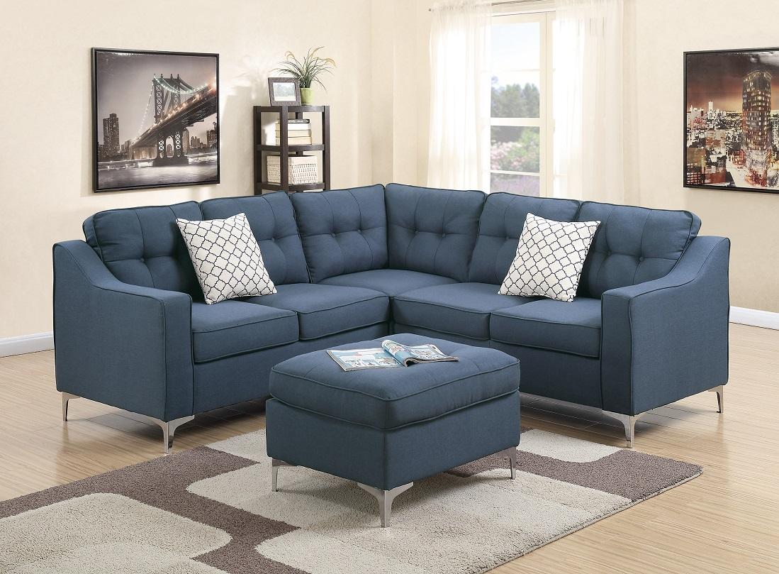 modern modular 4pcs l shaped sectional sofa casual navy tufted polyfiber laf raf one arm love seat corner wedge ottoman living room