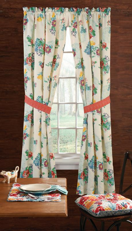 the pioneer woman country garden 2 pc window panel pair 40 w x 84 l