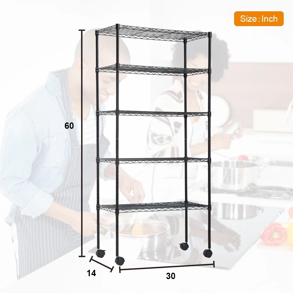 14 d x 30 w x 60 h 5 tier wire shelving unit nsf certification storage organizer height adjustable commercial grade heavy duty utility metal rack for