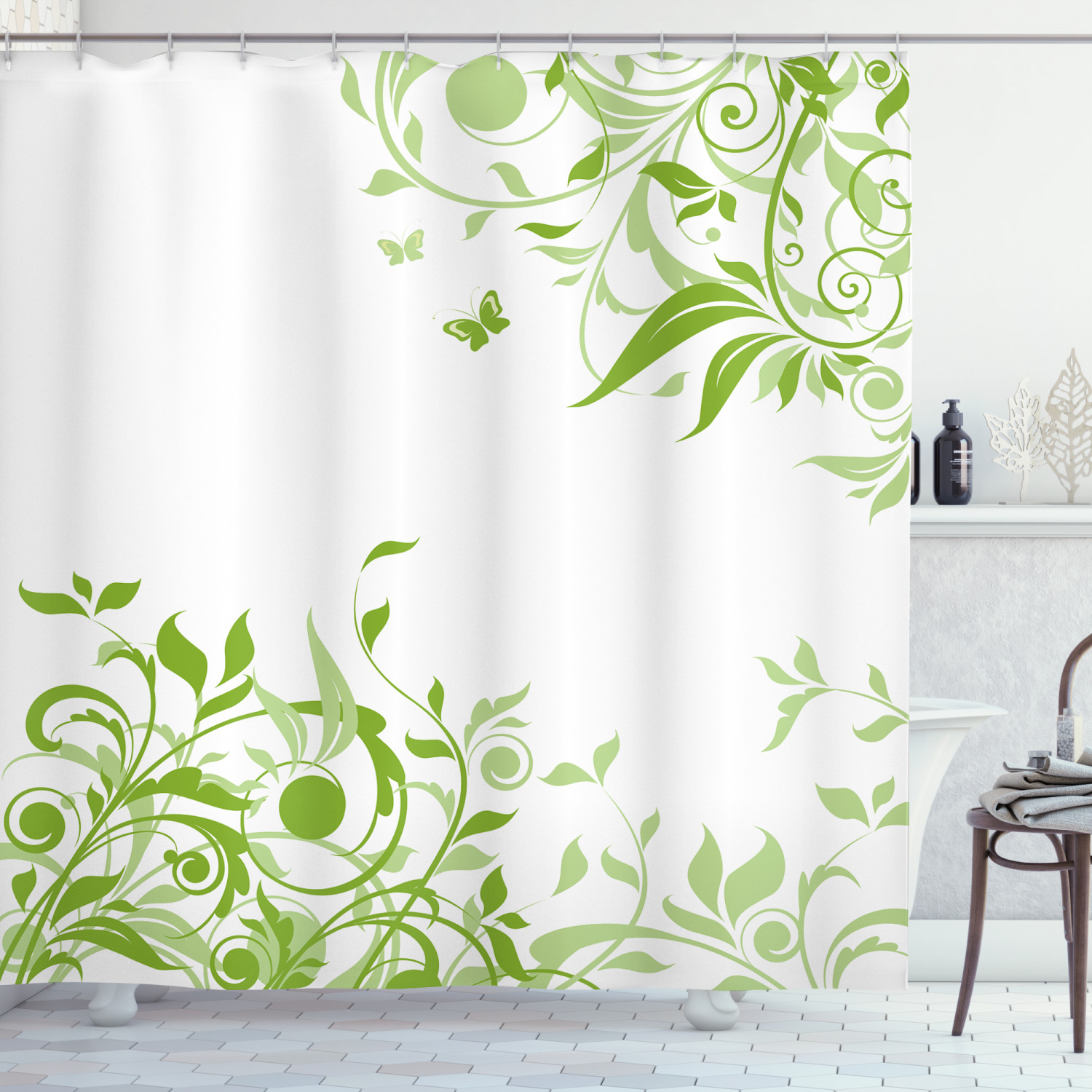 green shower curtain spring time theme with victorian artistic design branches butterfly fabric bathroom set with hooks 69w x 70l inches lime