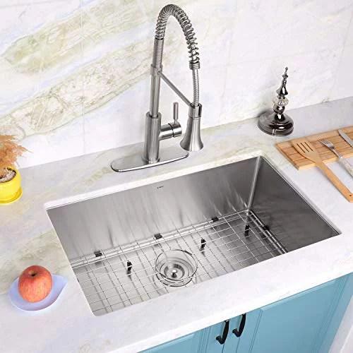 enbol sd3018 30 inch undermount single bowl stainless steel kitchen sink premium t304 16 gauge 10 inch deep 10mm radius corner easy clean with