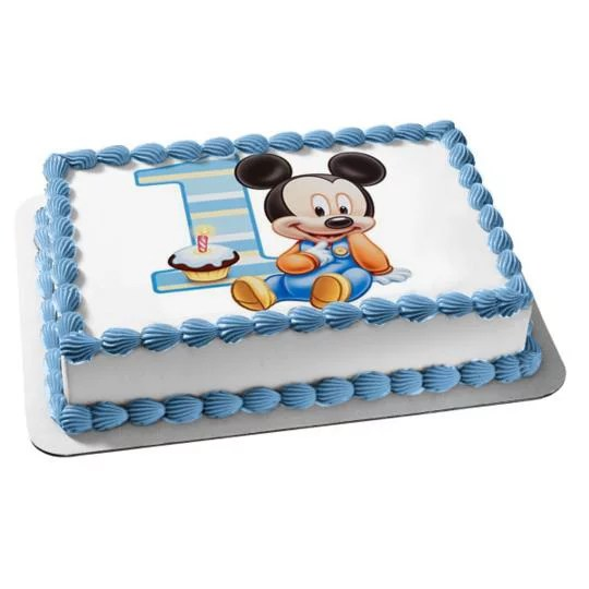 1 2 Sheet Baby Mickey Mouse 1 Year Old Edible Frosting Image Cake Topper Abpid00096 Walmart Com Walmart Com