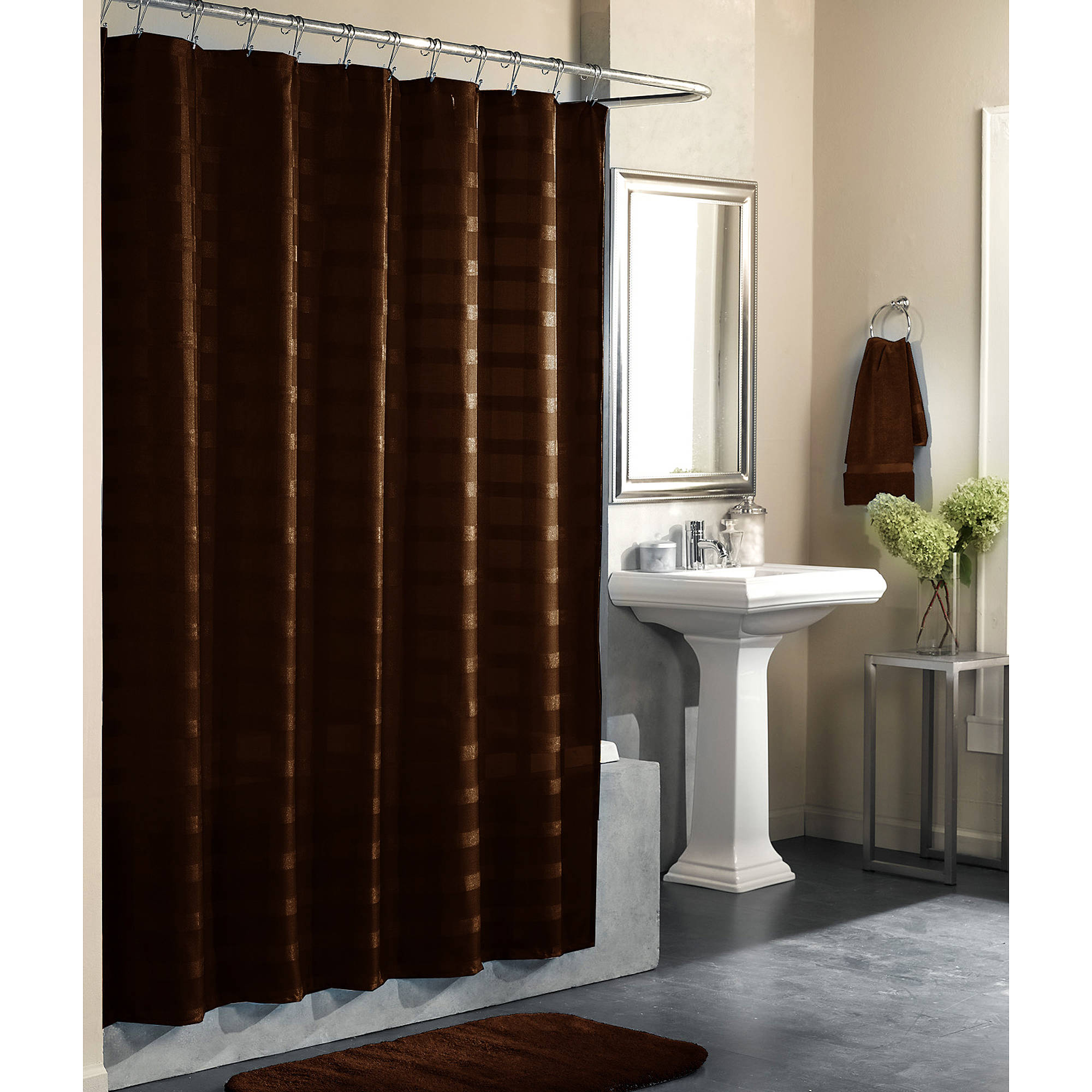 mainstays odyssey solid color shower curtain costa brown walmart com