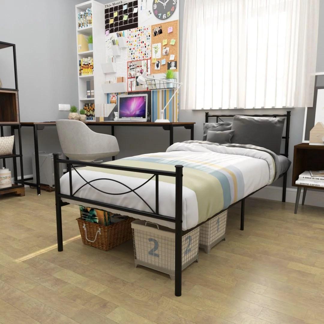 simlife metal platform bed twin with bowknot headboard and footboard
